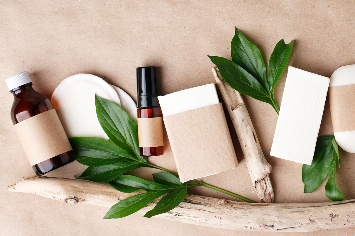 Natural organic cosmetic skincare packaging mock up with leaves